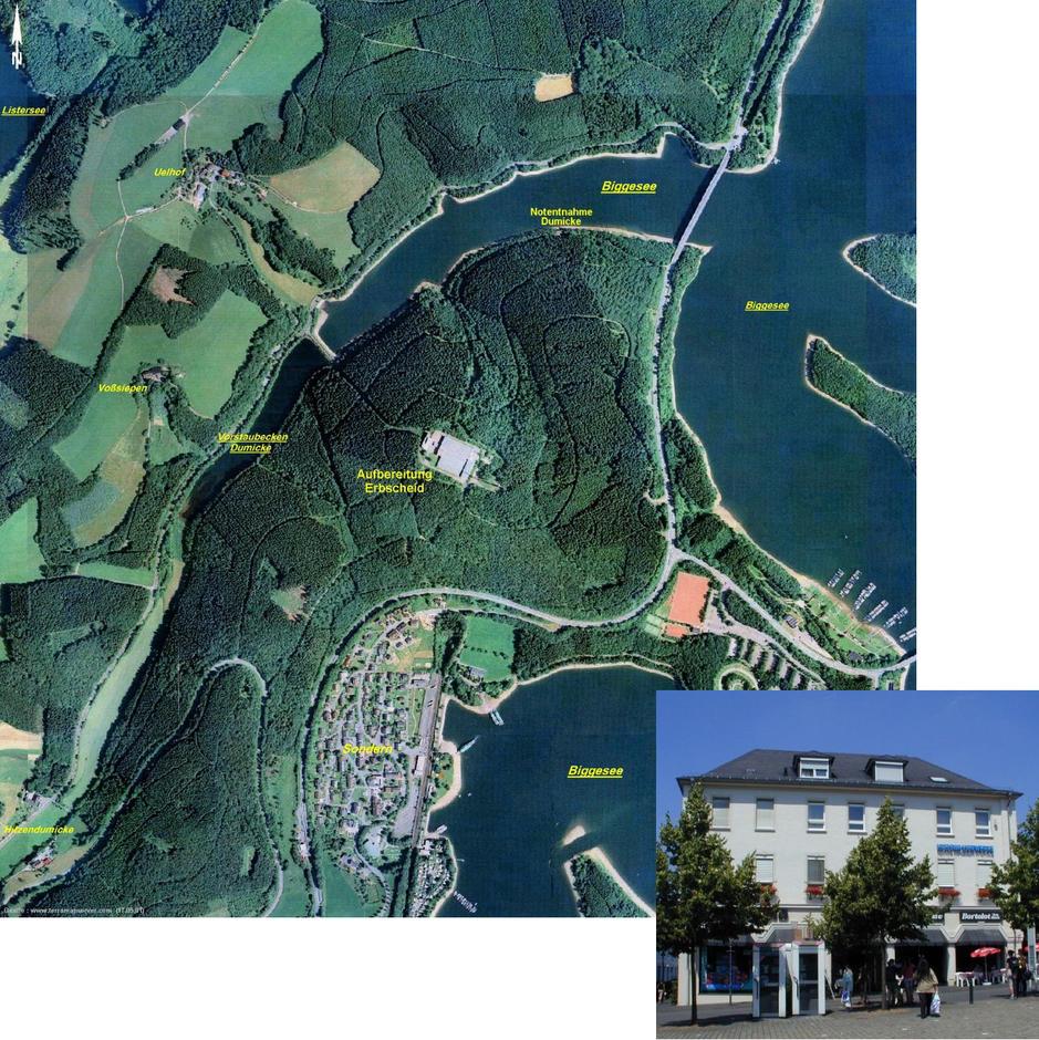 Kreiswerke Olpe Erbscheid Biggesee Luftbild mit Verwaltungsgebäude